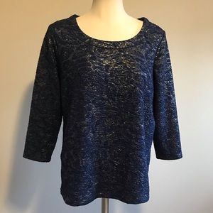 Ann Taylor navy blue & gold top 3/4 sleeves floral